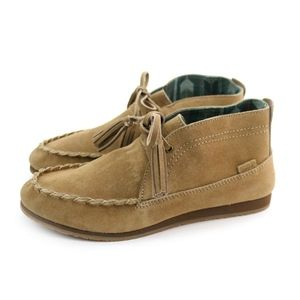 Sanuk Moccodile Tan Ankle Moccasin Suede Shoes NEW